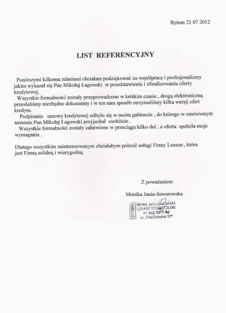 Referencje Monika Jania Jaworowska