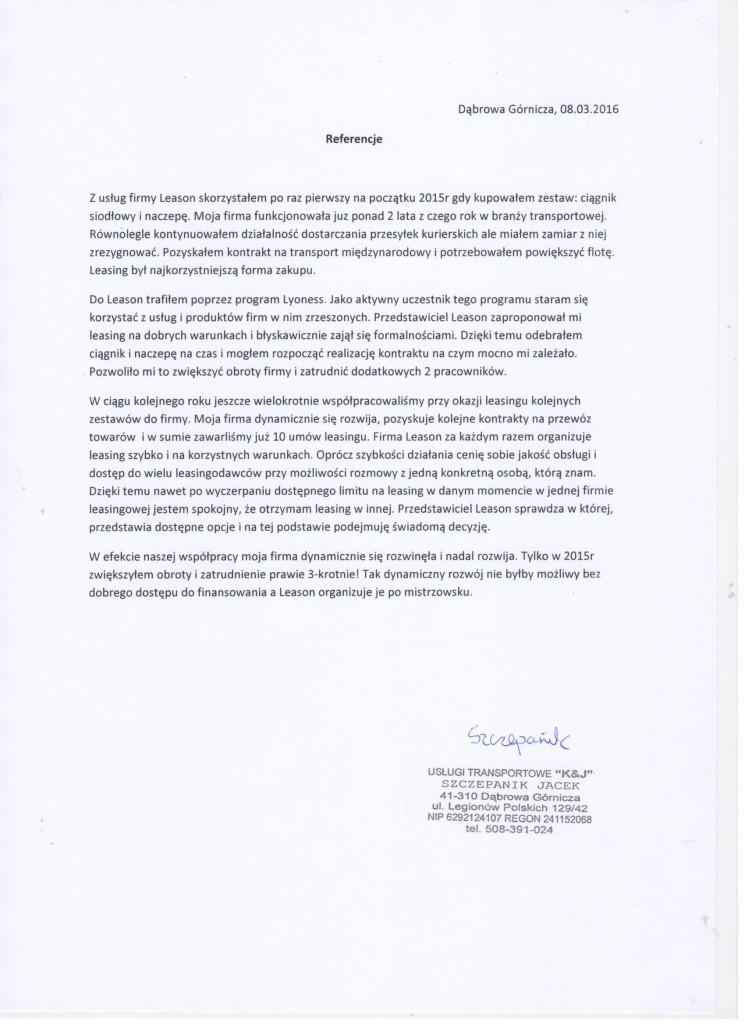Referencje Jacek Szczepanik