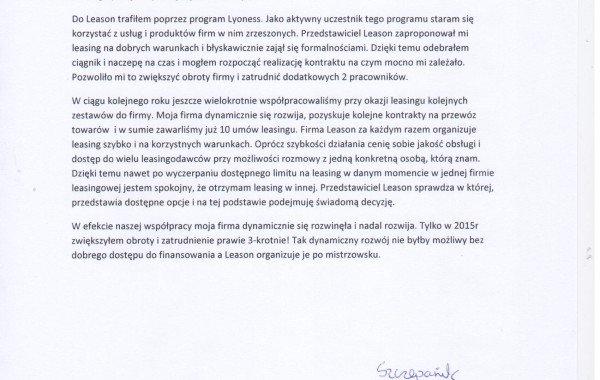 List Referencyjny –Jacek Szczepanik
