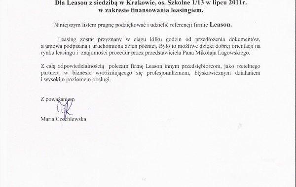 List Referencyjny – Maria Czachlewska