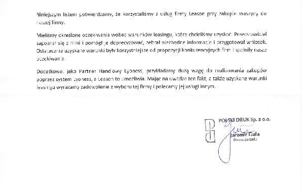 List Referencyjny – Polski Druk