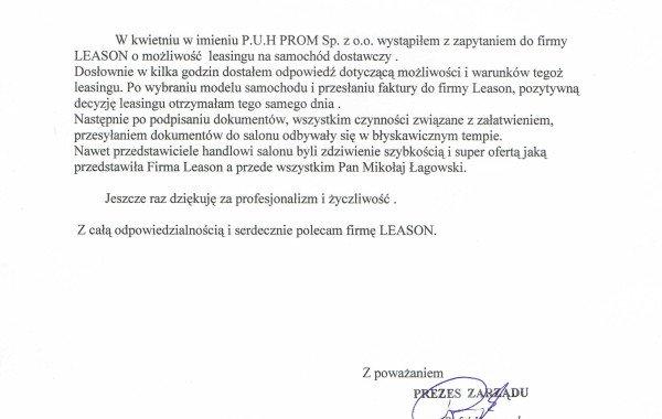 List Referencyjny – Prom