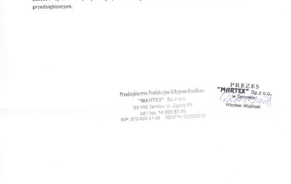 List Referencyjny – Martex