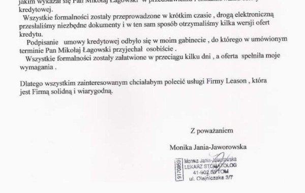 List Referencyjny – Monika Jania-Jaworowska